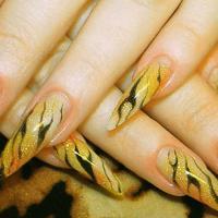 Дизайн ногтей кисточкой как веер
